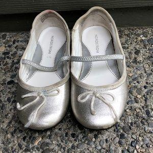 Nordstrom brand silver sparkle dress shoes